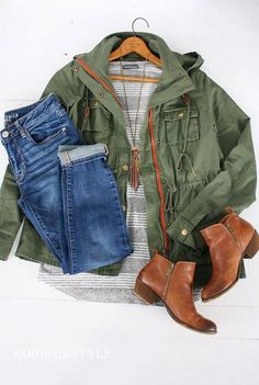 awesome Army Jacket with Jeans and Leather Booties Outfit Idea - Stitch Fix Fashion...