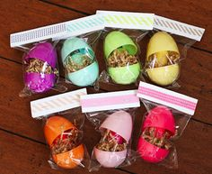eggs filled with color-coordinated nail polish - fun for the moms on easter!