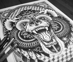 Cosmic Bear marker drawing by Sneaky Studios
