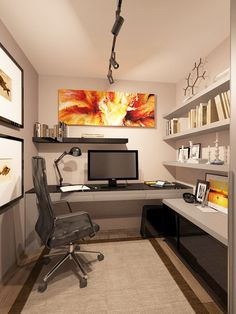 Building in a sweet, masculine office in a small basement space. Make the short wall a standing desk, give him his choice of art, and it's awesome. Remember that open shelving is a must for a tight space like this.