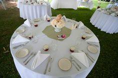 milk glass flower centerpieces at wedding 6/2011