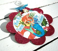 Meet Me Under the Mistletoe - Mermaid Collage Ornament - OOAK Hand Crafted Christmas Decoration. $12.00, via Etsy.