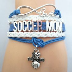 Infinity Love Soccer Mom Bracelet - FREE SHIPPING - Hand Made Leather Strap Wrap
