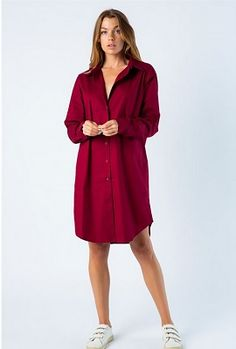 Shirt Dress with long sleeve and effortlessly chic with collared button down. Wear this trendy 'borrowed from your boyfriend' look without sacrificing Maroon Shirts, Dress Up, Shirt Dress, Your Boyfriend, Cuff Sleeves, Poplin Fabric, Minimalist Fashion, Collars, Chic