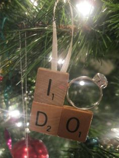 Scrabble Tile XOXO, I Do Engagement Ring Christmas Ornament - Just Engaged, Just Married, First Christmas Together. $9.00, via Etsy.
