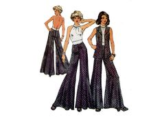 1970s Halter Top and Palazzo Pants Pattern by MaddieModPatterns