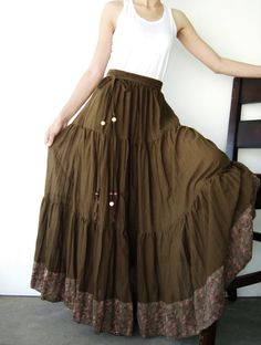 NO25 Greenish Brown Cotton Hippie Gypsy Boho by JoozieCotton, $42.00