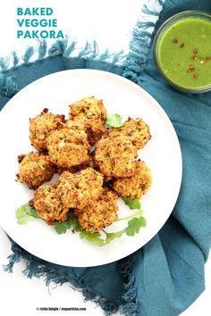 Broccoli, Cauliflower, potatoes, carrots and greens in this Mixed Vegetable Pakora. Baked Veggie Pakore Bhajjiya. Vegan Soyfree Recipe. Easily Glutenfree.