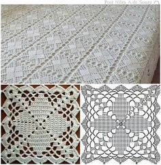 Top 4 crochet tablecloth pattern you will like crochet tablecloth pattern copriletto a mattonelle YKSNBID Very pretty granny square via This Pin was discovered by Sou I'm in love with this bedsprea Crochet Bedspread Pattern, Crochet Tablecloth Pattern, Crochet Square Patterns, Crochet Blocks, Crochet Diagram, Crochet Chart, Crochet Squares, Thread Crochet, Crochet Granny