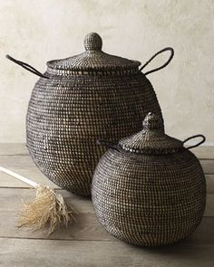 Handmade in Africa using traditional techniques and an amazing amount of artistry, these baskets are woven of straw and wool.