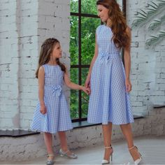 New Mother Daughter Dresses Bow Plaid Family Matching Outfits Blue O-neck Fashion Mom and Daughter Dress Women Kids Clothes - mother and daughter - # Mommy And Me Dresses, Mommy And Me Outfits, Mom Dress, Baby Dress, Girls Dresses, Dress Girl, Dress Set, Maxi Dresses, Mother Daughter Matching Outfits