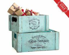 Juego de 6 botellas y caja de madera / boda por OpenVintageShutters