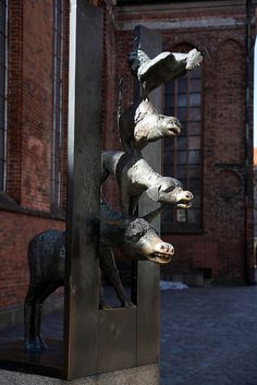 """Town Musicians of Bremen"" - sculpture in Medieval Old town of Riga  2011 006 Riga 05 by ngari.norway, via Flickr"