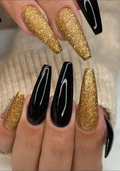48 of These Black Coffin Nails Art Enhancements are The Most Fashionable A women's lifestyle destination dedicated to style, entertainment, love, and living of These Black Coffin Nails Art Enhanceme Acrylic Nail Designs Classy, Nail Art Designs, Solid Color Nails, Nail Colors, Golden Nails, Black Coffin Nails, Pretty Nail Art, Luxury Nails