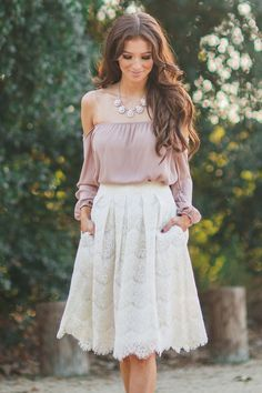 Midi lace skirt, skirts with pockets, A Line Skirts, white skirts, photoshoot outfit ideas, Morning Lavender