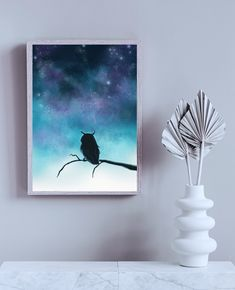 Magical Owl Print - Digital Fantasy Painting of an owl silhouette with a starry night sky von TerraSomniaArt auf Etsy Starry Night Sky, Night Skies, Owl Silhouette, Owl Print, Fantasy Kunst, Fantasy Paintings, Fashion Night, Poster Prints, Etsy
