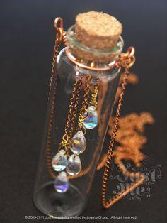 Spring Rain glass bottle necklace