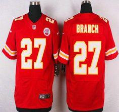 Kansas City Chiefs Jersey 27 Tyvon Branch Red Team Color NFL Nike Elite Jerseys