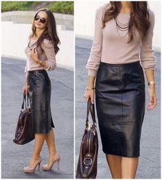 Leather Skirt You Can Wear to Work — Practically Fashion : Black leather pencil skirt styled by practicallyfashion Fashion Mode, Office Fashion, Work Fashion, Skirt Fashion, Fashion Black, Womens Fashion, Airport Fashion, Fashion Outfits, Latex Fashion