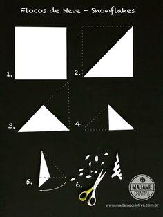 Como fazer flocos de neve de papel -  Passo a passo com fotos - How make paper snowflakes - DIY tutorial  - Madame Criativa -…