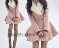 pink princess style cape Wool  Cashmere coat Double breasted button coat winter coat  cloak  cape with faux fur collar dy40 S,M on Etsy, $66.99