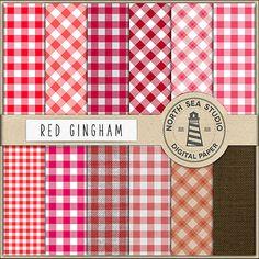 Red Gingham Digital Paper Pack Scrapbook Paper by NorthSeaStudio