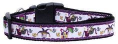 Mirage Pet Products Mardi Gras Nylon Ribbon Dog Collar, Medium >> Details can be found  : Collars for dogs