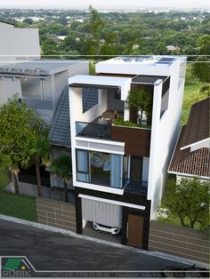 House Outer Design, Modern Small House Design, Modern Minimalist House, House Front Design, Small Modern House Exterior, 3 Storey House Design, Duplex House Design, Modern House Floor Plans, Narrow House Plans
