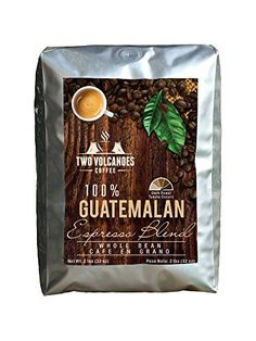 Two Volcanoes Gourmet Coffee Beans - Guatemala Dark Roast Espresso Blend - Organic Whole Bean Coffee. From The Best Guatemalan Arabica & Robusta Roasted Beans - Rare Coffee Gift ! - 2 lb Bag (32 oz) - http://teacoffeestore.com/two-volcanoes-gourmet-coffee-beans-guatemala-dark-roast-espresso-blend-organic-whole-bean-coffee-from-the-best-guatemalan-arabica-robusta-roasted-beans-rare-coffee-gift-2-lb-bag-32-o/