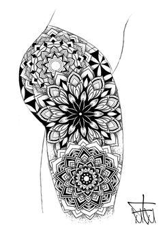 Design by.mannymaker with the new ipad pro. Mandala Tattoo Back, Geometric Mandala Tattoo, Sacred Geometry Tattoo, Mandala Tattoo Design, Back Tattoo, Arm Band Tattoo, Tattoo Designs, Cover Up Tattoos, Leg Tattoos