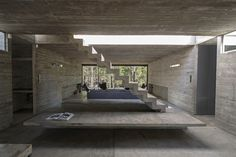 This modern concrete residence located in Pinamar, Argentina, was developed in 2015 by Luciano Kruk Arquitectos. Description by Luciano Kruk Arquitectos Costa Concrete Architecture, House Architecture, Contemporary Architecture, Futuristic Architecture, Concrete Interiors, Walter Gropius, Concrete Houses, Concrete Walls, Concrete Art