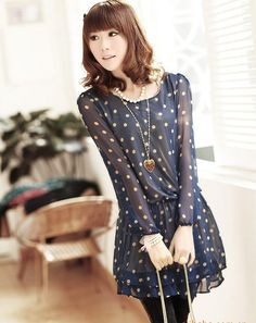 c62ab12051b7 New Korea Stylish Womens Girls Sweet Polka Dots Casual Beach Blue chiffon  dress