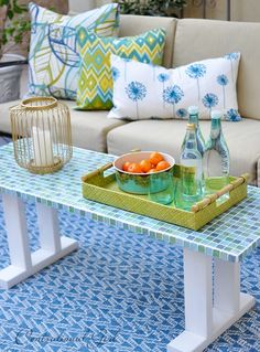 DIY Outdoor Furniture Projects and Tutorials - Sunlit Spaces Backyard Furniture, Diy Outdoor Furniture, Furniture Projects, Diy Projects, Outdoor Projects, Outdoor Decor, Mosaic Patio Table, Mosaic Coffee Table, Outdoor Table Plans