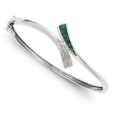 Sterling Silver Blue and White Diamond Bangle. $300