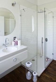 open walk in shower glass walls white wall tiles wooden floor modern vanity small shower ideas