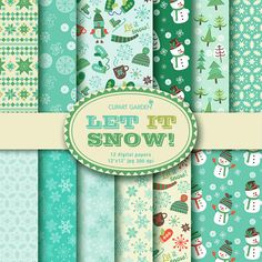 12 Winter Let it snow Digital Papers Pack. paper by CLIPARTGARDEN  https://www.etsy.com/listing/116929034/12-winter-let-it-snow-digital-papers?ref=shop_home_active_14