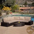 Christopher Knight Home Santa Cruz Outdoor Brown Wicker Sofa Set | Overstock.com $1169.99