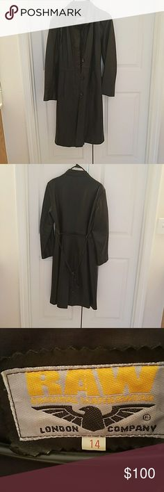 Leather coat Vintage leather coat. Second from top button missing.This is trench coat length. Very warm for the winter! London Company Jackets & Coats Trench Coats