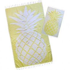 Lemon Yellow Pineapple premium Turkish Beach Towel