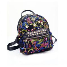 Unique Rainbow Skull Camo Mesh Rivets Backpack&Schoolbag for only $42.99 ,cheap Fashion Backpacks - Fashion Bags online shopping,Unique Rainbow Skull Camo Mesh Rivets Backpack&Schoolbag