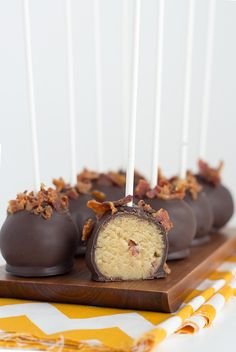 Maple Bacon Cake Pops - a delicious game day treat! Bacon Cake, Maple Bacon, Caramel Apples, Falling In Love, Cake Pops, Cake Pop, Caramel Apple, Cakepops