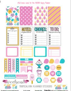 Free Printable Tropical Fun Planner Stickers from Vintage Glam Studio