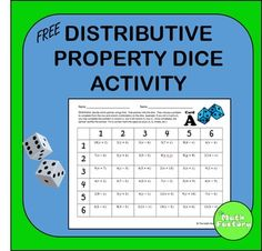 Distributive Property Dice Activity - FREE: This product is a sample of my… Math Teacher, Math Classroom, Teaching Math, Classroom Ideas, Math Resources, Math Activities, Math Games, Fifth Grade Math, Ninth Grade