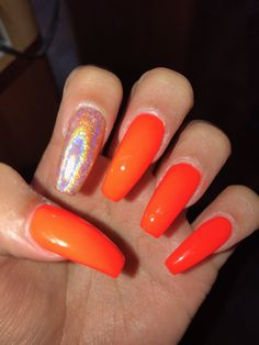 53 Perfect Fall Nail Polish Colors In 2018 Orange Nail Art, Orange Acrylic Nails, Fall Acrylic Nails, Bright Orange Nails, Orange Ombre Nails, Autumn Nails, Coral Orange, Acrylic Colors, Toe Nail Designs