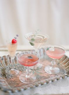 Serve up cocktails in mix and match vintage glassware. The champagne coupe. Cocktail Rose, Cocktail Garnish, Signature Cocktail, Cocktail Drinks, Cocktail Recipes, Bartender Drinks, Cocktail Desserts, Bourbon Drinks, Cocktail Parties