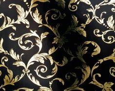Wallpaper by euro walls,176714.  Love the luxurious gold on black.