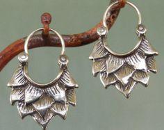 Lotus Earrings silver hoop earrings by BobsWhiskers on Etsy