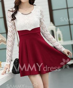 $12.67 Ladylike Scoop Collar Color Block Lace Splicing Beading Long Sleeves Pleated Dress