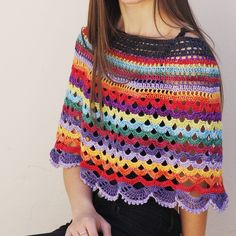 Ravelry: Boheme pattern by Brenda Grobler Crochet Poncho Patterns, Crochet Shawls And Wraps, Crochet Scarves, Crochet Yarn, Crochet Crafts, Crochet Clothes, All Free Crochet, Kids Crochet, Beautiful Crochet