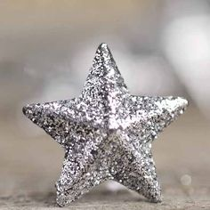 Miniature Dimensional Silver Glitter Stars